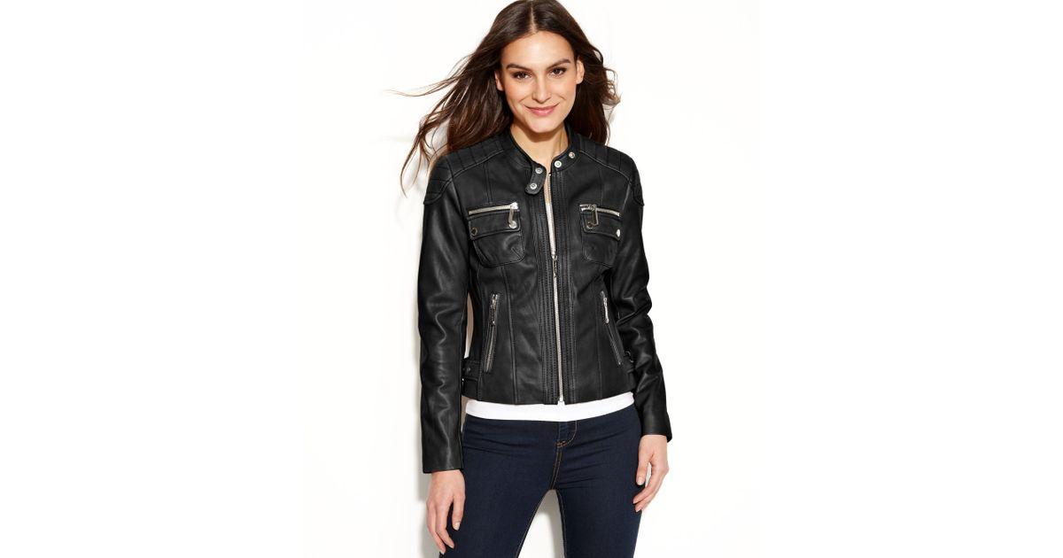 8325c94d2d57 MICHAEL Michael Kors Plus Leather Moto Jacket Source · Lyst Michael Kors  Michael Petite Quilted Detail Leather Motorcycle