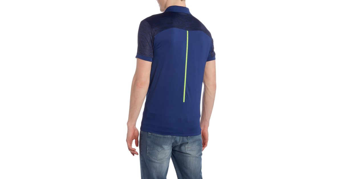 boss golf pavotech graphic detail polo shirt in blue for men lyst. Black Bedroom Furniture Sets. Home Design Ideas