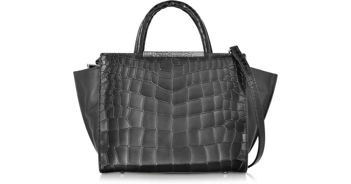 Lyst Class Roberto Cavalli Regina Embossed Croco Dark Grey Leather Small Handbag In Gray