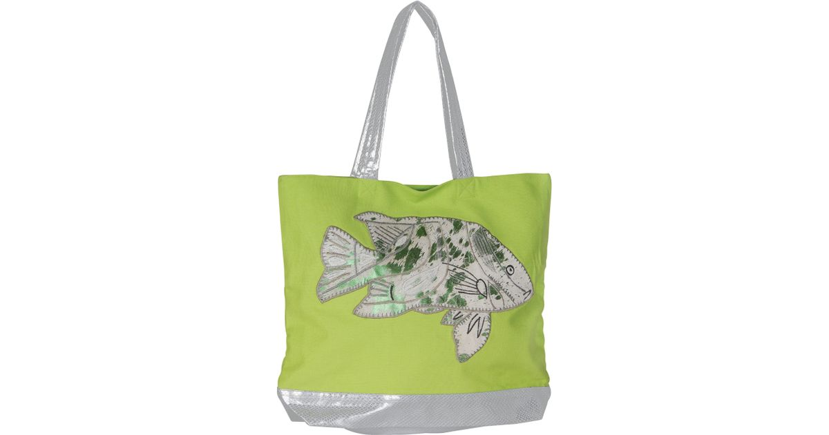 marinette saint tropez lime fish shopping bag in green lyst. Black Bedroom Furniture Sets. Home Design Ideas