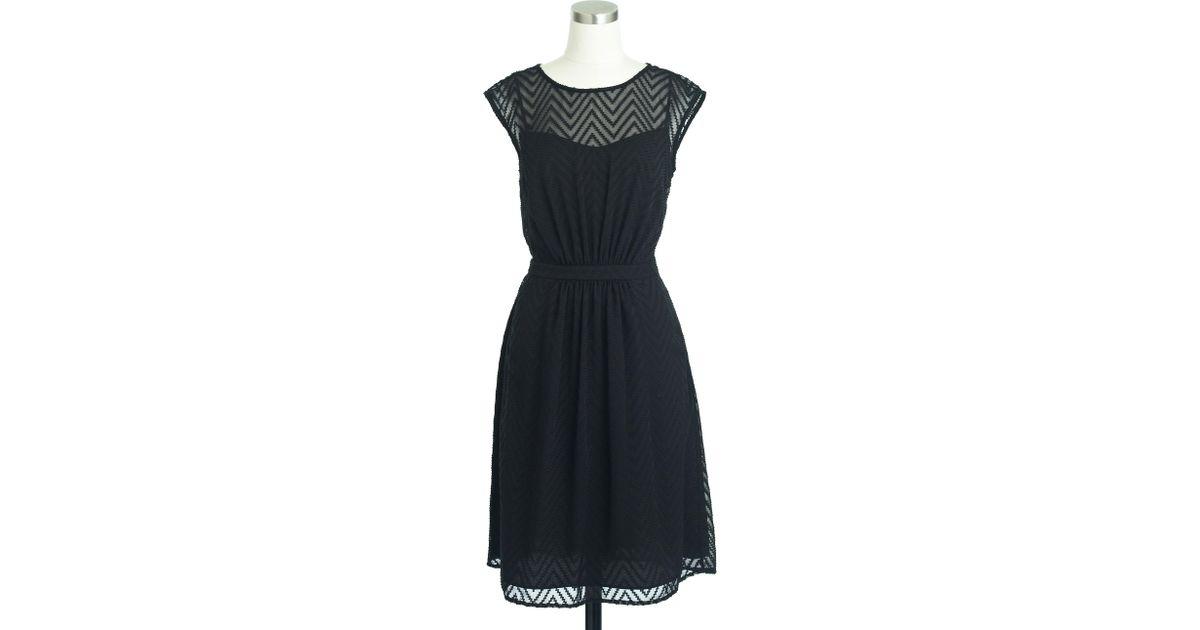 2525cd1aaf1d1 Lyst - J.Crew Sleeveless Chiffon Dress In Zigzag in Black