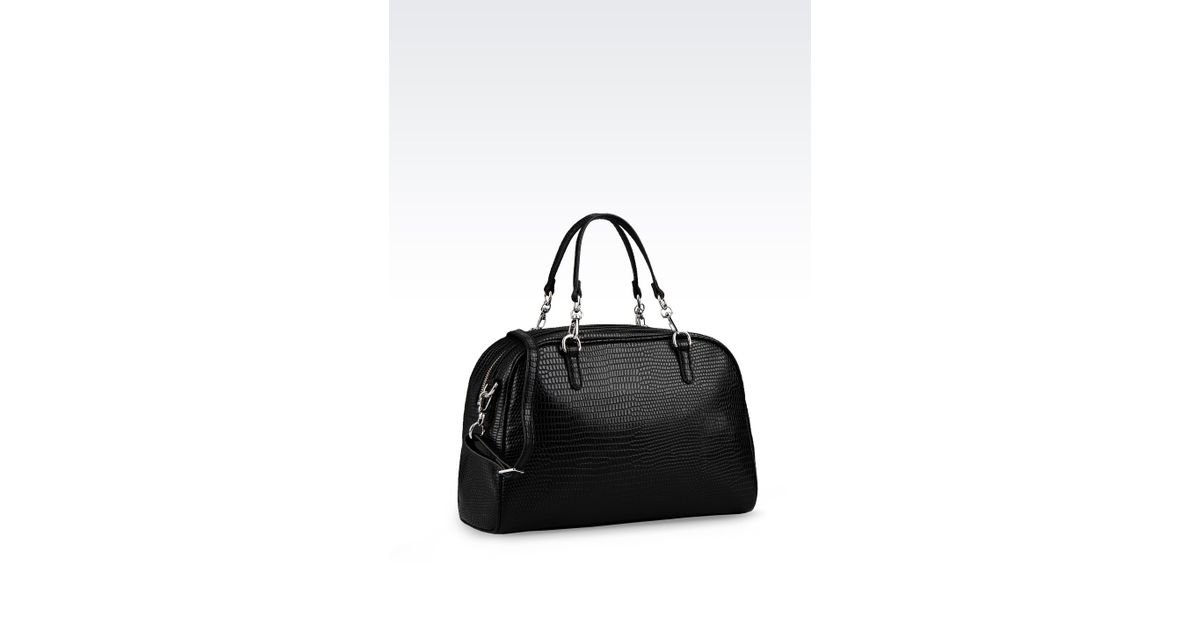 Armani Jeans Bowling Bag in Printed Faux Leather with Jewel Detail in Black  - Lyst 15c8c84cf0ad7