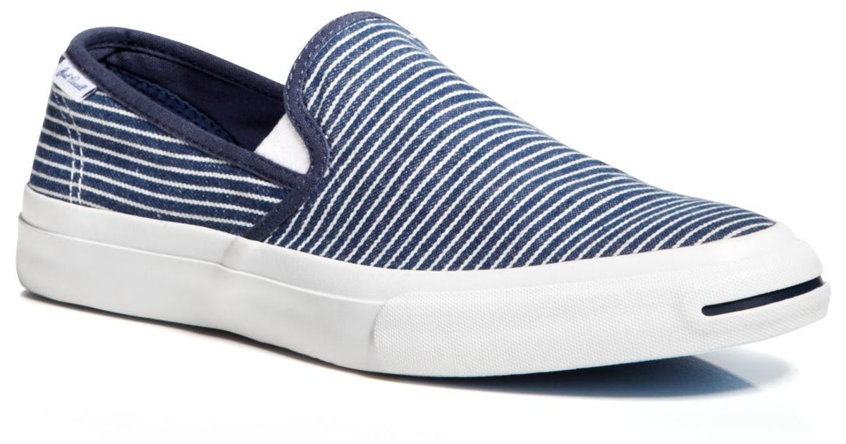 ea7fc5dec9ac Lyst - Converse Jack Purcell Ii Striped Slip On Sneakers in Blue for Men