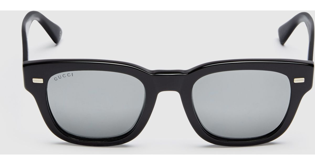 385b3c660ec Lyst - Gucci Havana Acetate Round-frame Sunglasses in Black for Men
