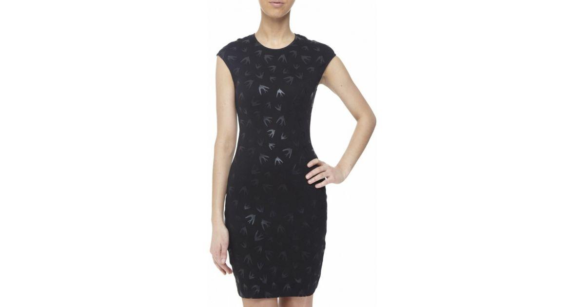 e8620d34d6d92 McQ Swallow Print Mini Dress in Black - Lyst