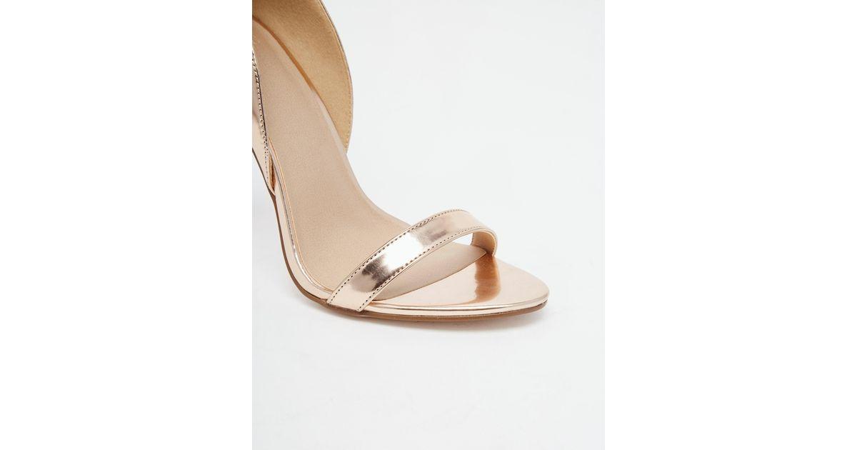 9cb0b18c58f8 Lyst - ASOS Honey Wide Fit Heeled Sandals in Metallic