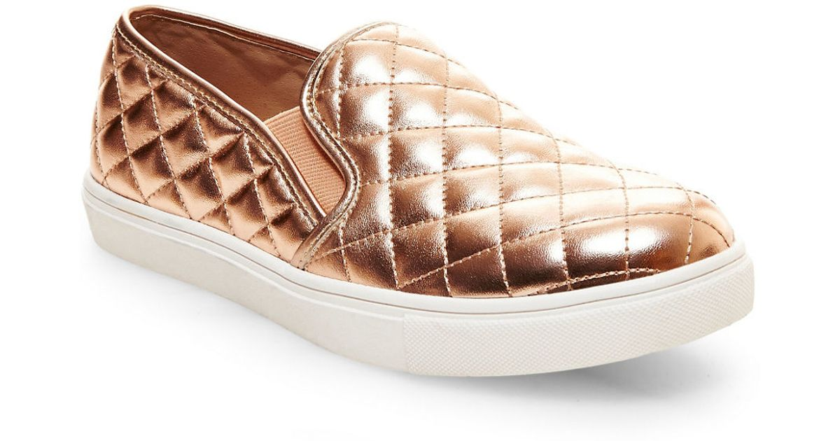 493df4eaccd Steve Madden Ecentrcq Quilted Faux Leather Slip-ons in Metallic - Lyst