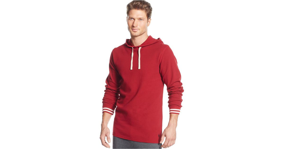 9bebb7e0 Polo ralph lauren Men\u0027s Solid Raglan Waffle Thermal Hoodie in Red for  Men