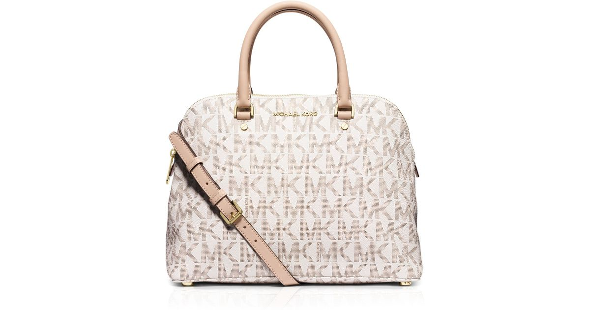 82faa28f27d11 Lyst - MICHAEL Michael Kors Satchel - Large Cindy Mk Signature Dome in White