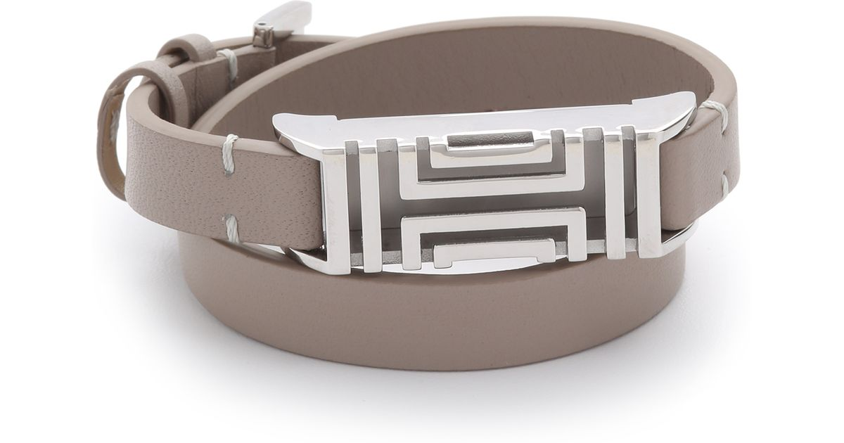 bde3c073a0ed12 Lyst - Tory Burch For Fitbit Leather Bracelet - French Gray tory Silver in  Gray