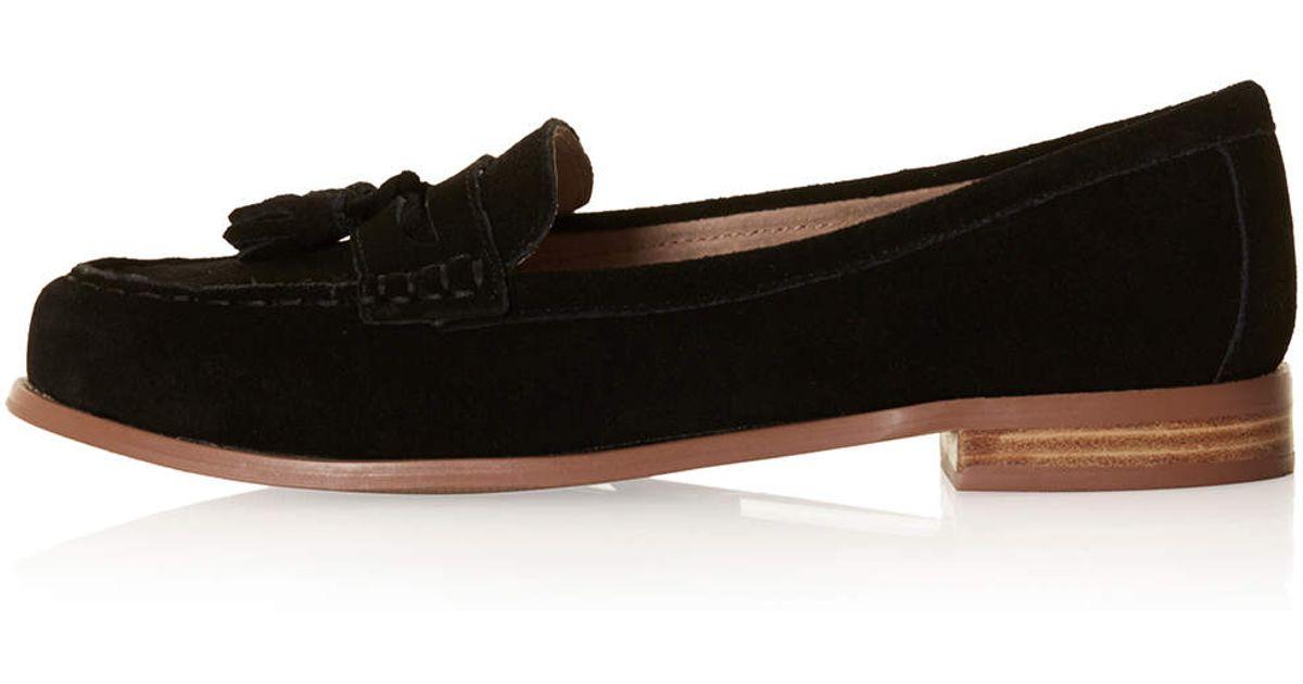 c6e9d1ffe12 Lyst - TOPSHOP Lottie Suede Loafers in Black
