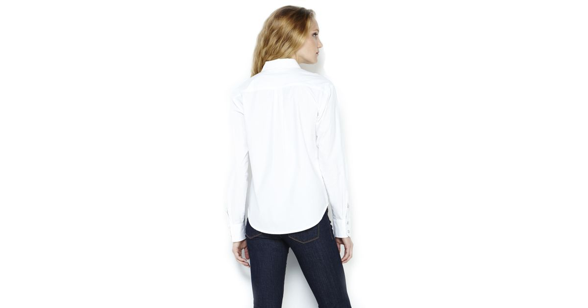 6c74f6d06bf3f Lyst - BCBGeneration White Boxy Button-Up Shirt in White