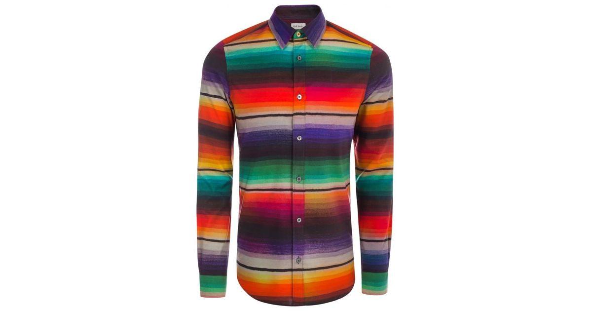Paul Smith Men39s Rainbow 39blanket Stripe39 Print Cotton And