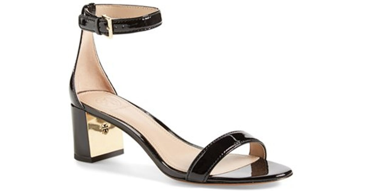 607c7c211d23a Lyst - Tory Burch Cecile Leather Metallic-Detail Sandals in Black