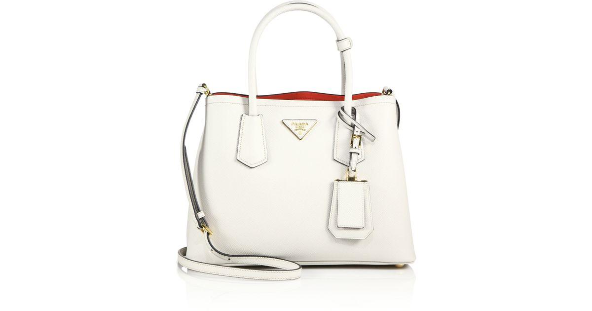 3b461415bdc0 Prada Saffiano Cuir Double Bag White | Stanford Center for ...