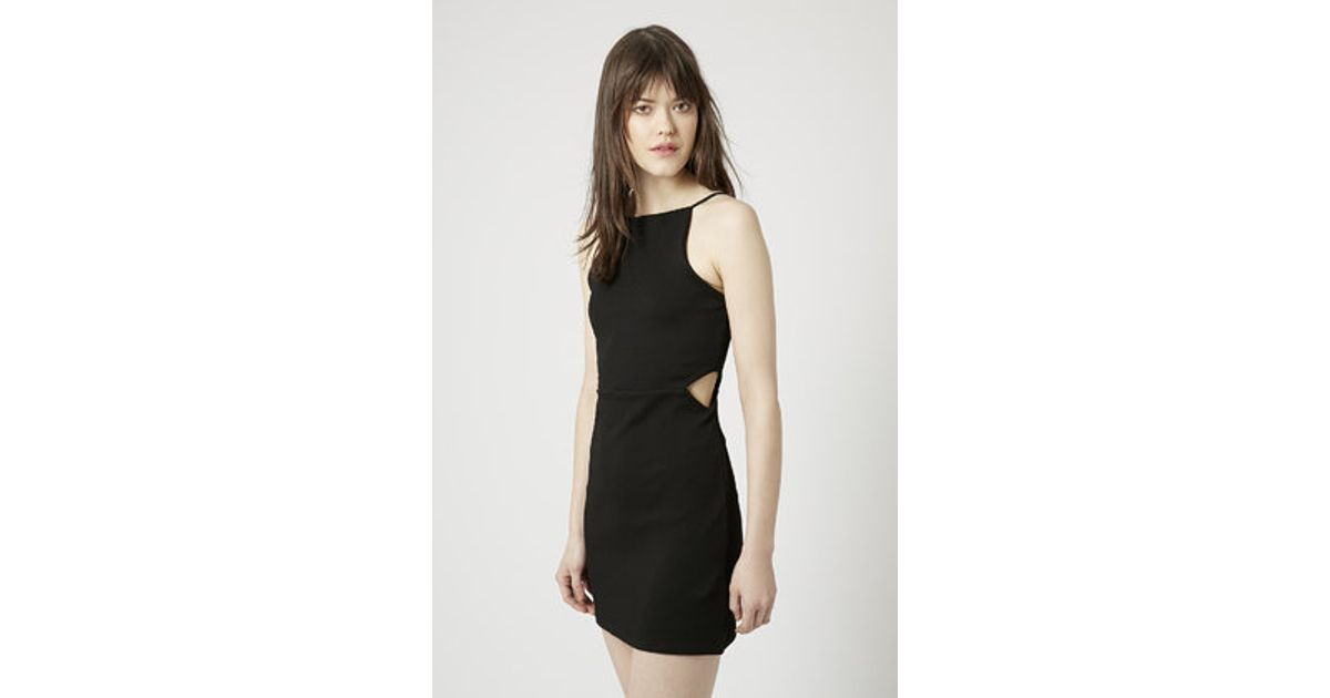 Lyst Topshop Petite Square Neck Cut Out Bodycon Dress In Black