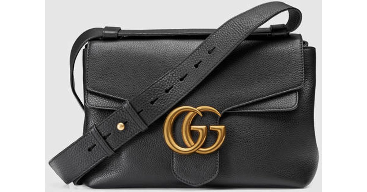 f6996dd2e20fc7 Gucci Gg Marmont Leather Shoulder Bag in Black - Lyst