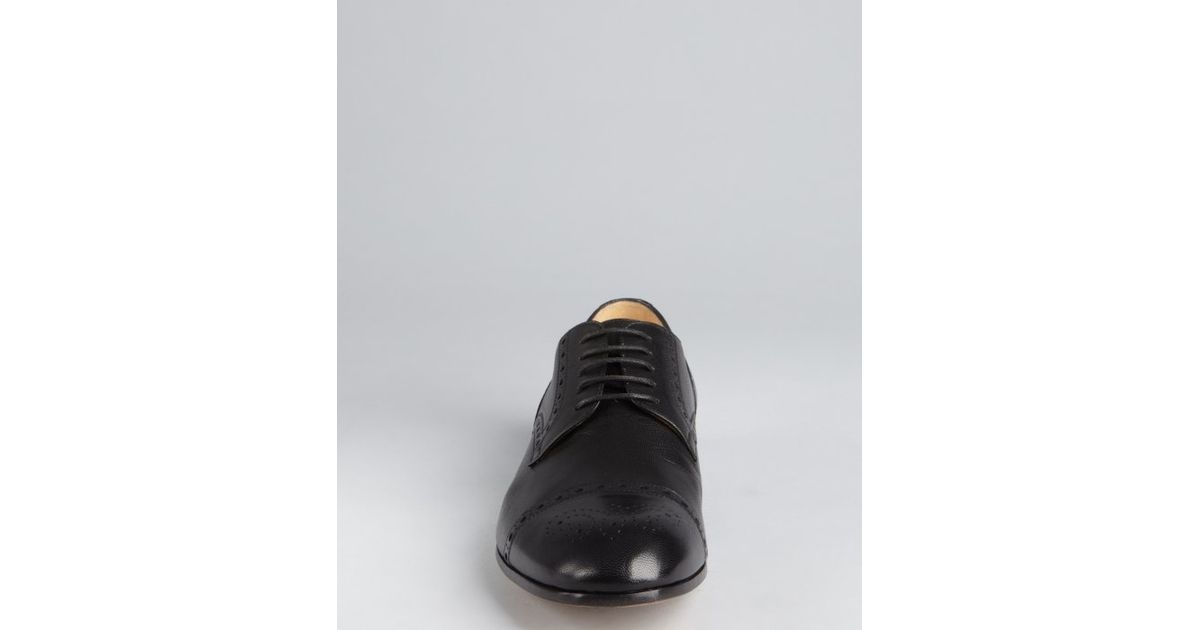 046497c370d Lyst - Gucci Black Grained Leather Oxfords in Black for Men