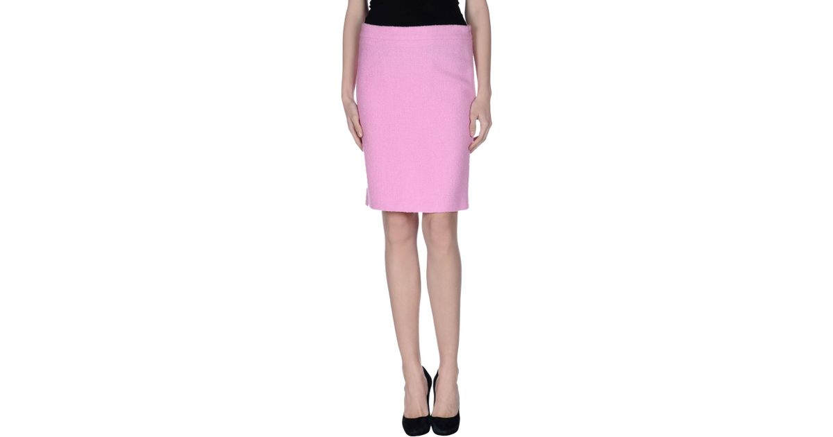 boutique moschino knee length skirt in purple lyst