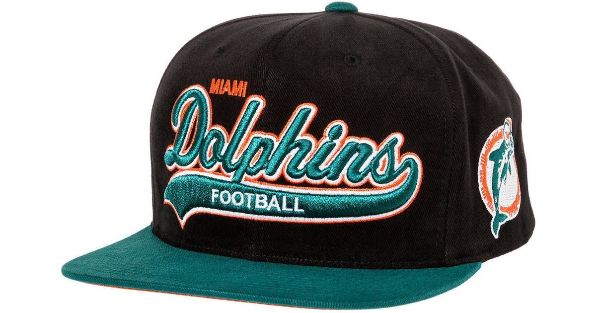01e09ddcc promo code for lyst mitchell ness the miami dolphins throwback tailsweeper  brushed twill snapback hat in