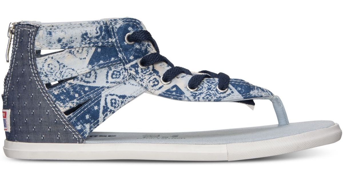 Lyst - Converse Women s Chuck Taylor Gladiator Thong Sandals From Finish  Line in Blue fbe41bc61