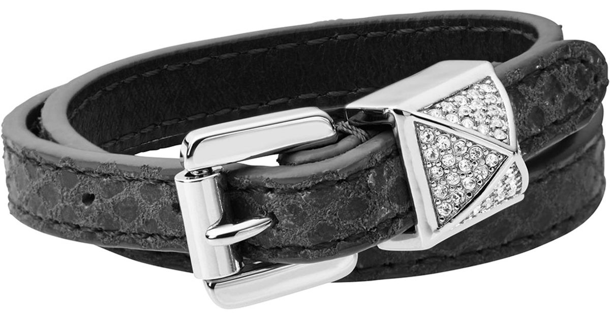 Lyst Michael Kors Crystallized Pyramid Belt Bracelet Silver Color