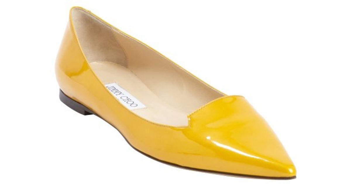 655f34436f3 ... ballet flats Jimmy choo Sun Patent Leather attila Flats in Yellow Lyst  ...