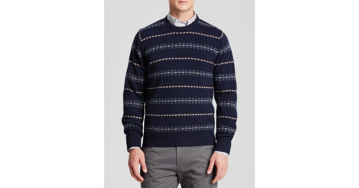 Brooks brothers Fairisle Wool Sweater in Blue for Men | Lyst