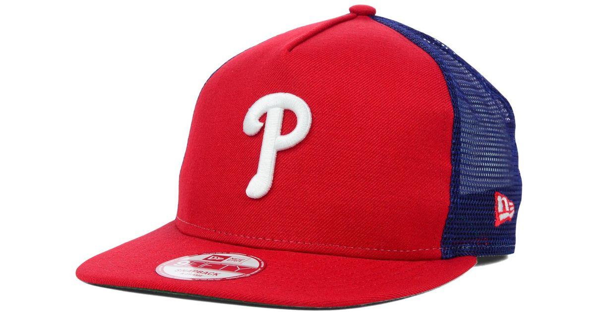 quite nice 430b1 dd6d7 ... coupon code for lyst ktz philadelphia phillies trucker a frame 9fifty  snapback cap in blue for