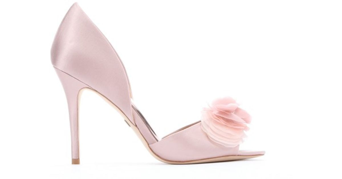 Lyst badgley mischka blush satin ginseng flower detail open toe lyst badgley mischka blush satin ginseng flower detail open toe dorsay pumps in pink mightylinksfo