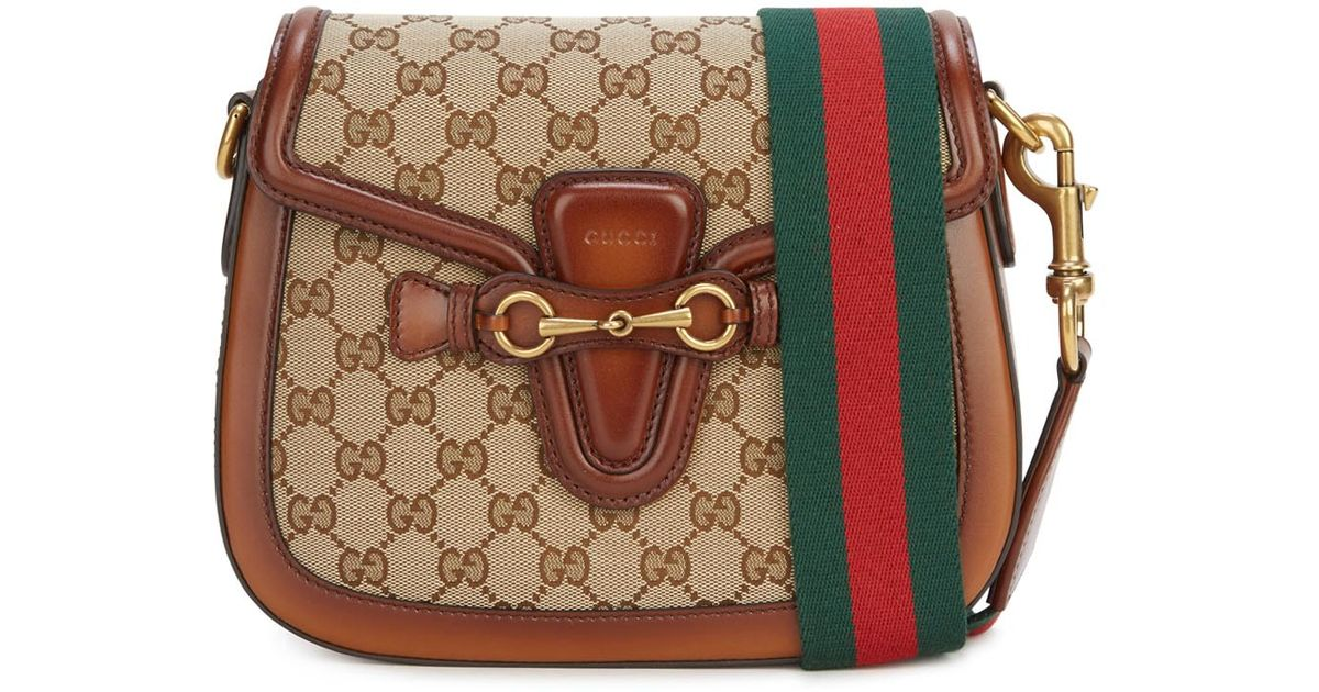 894c4c82a19e Gucci Lady Web Medium Cross-body Bag in Brown - Lyst