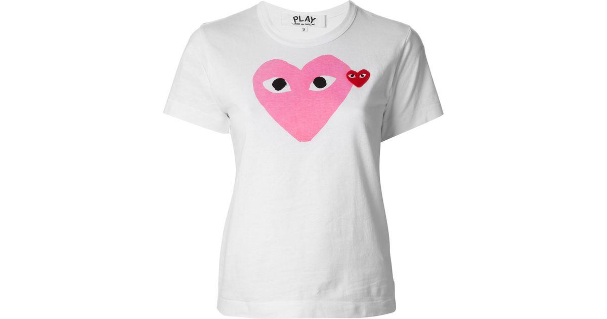 cc1a851b3540 Comme des Garçons Heart Print T-Shirt in Pink - Lyst