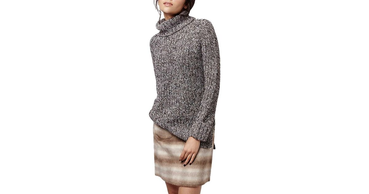 be21705e509 TOPSHOP Rolled Turtleneck Sweater in Gray - Lyst