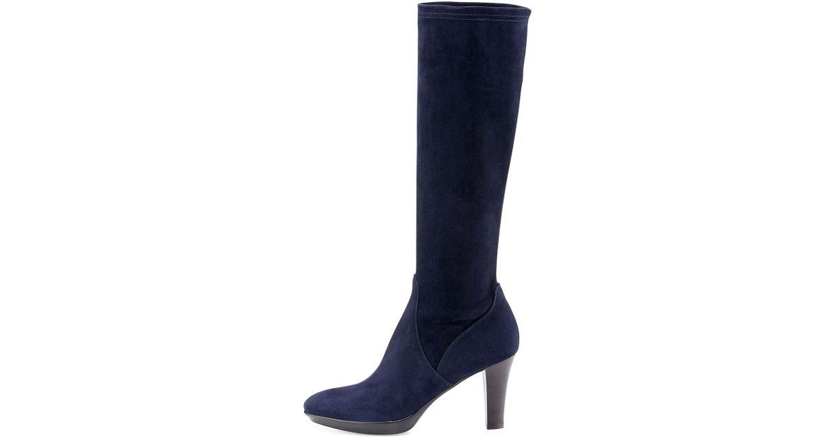 3c875531aaf Lyst - Aquatalia Rhumba Stretch Suede Knee Boot in Blue