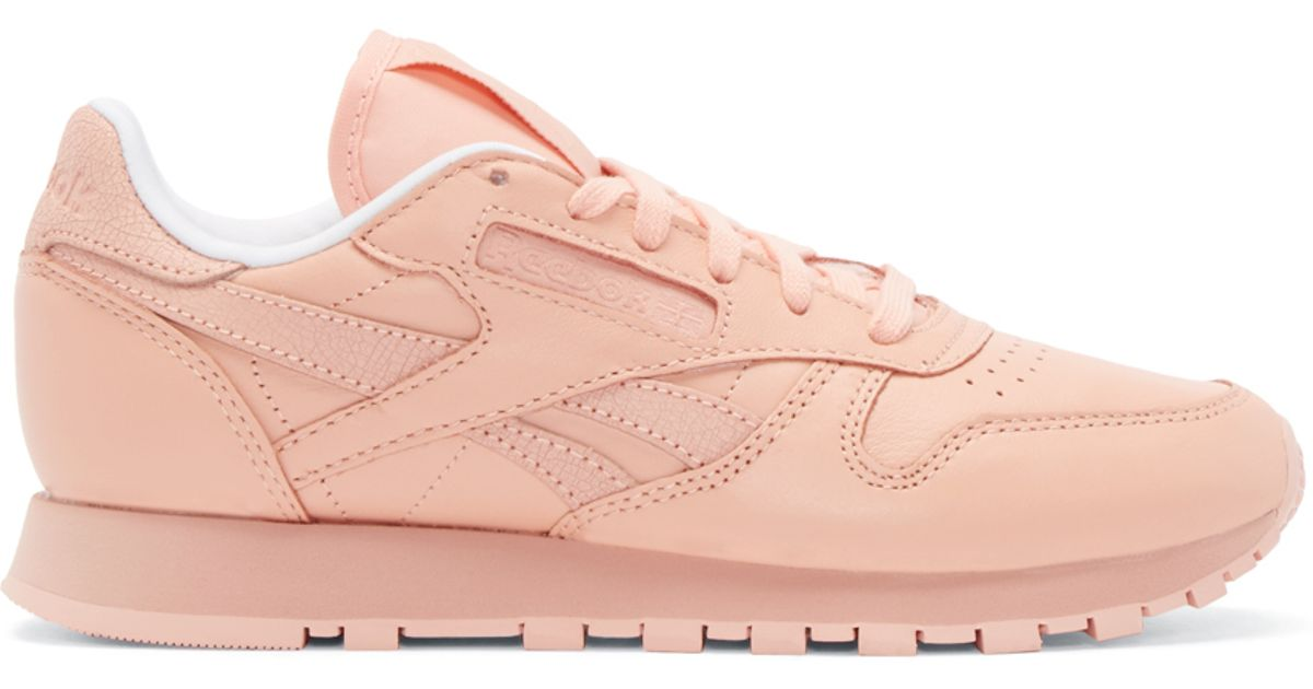 the latest f43d3 a54bb Reebok Pink Coral Leather Spirit Face Stockholm Edition Sneakers