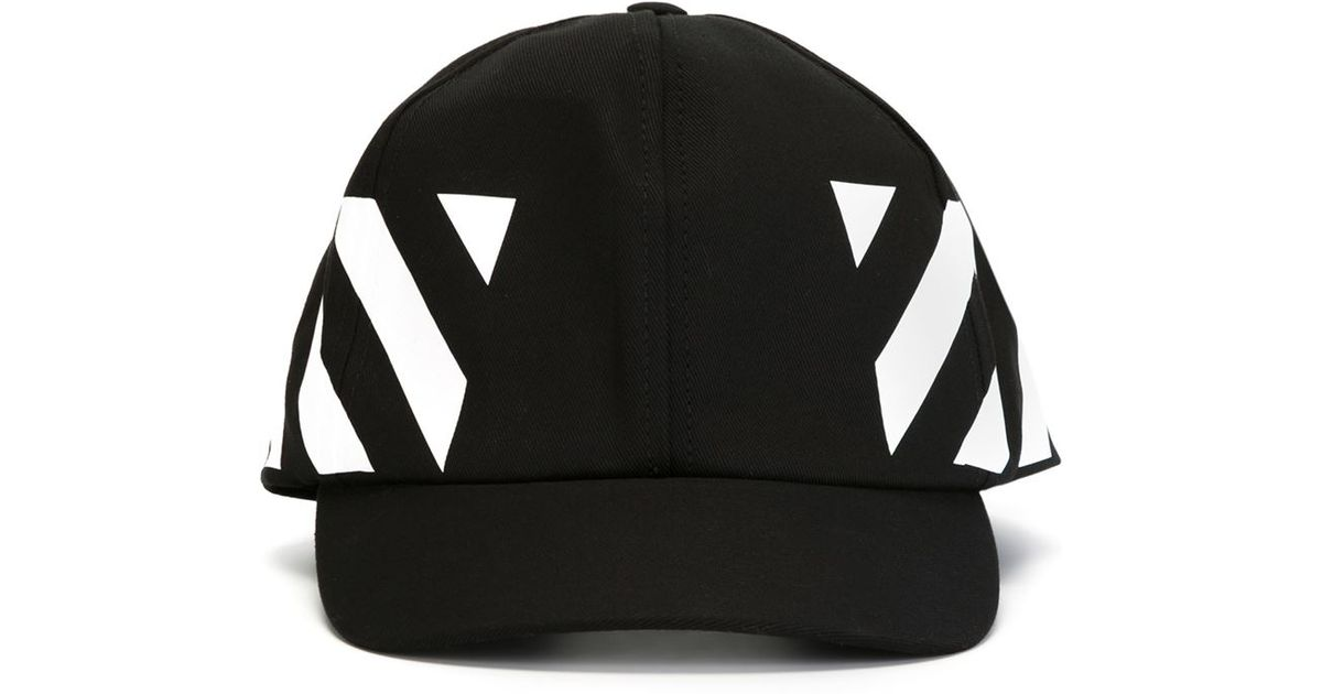 9d8e8fe9ece Black Mens Quote Baseball Cap  innovative design a232b 40a61 lyst off white  c o virgil abloh striped panel cap in black for ...