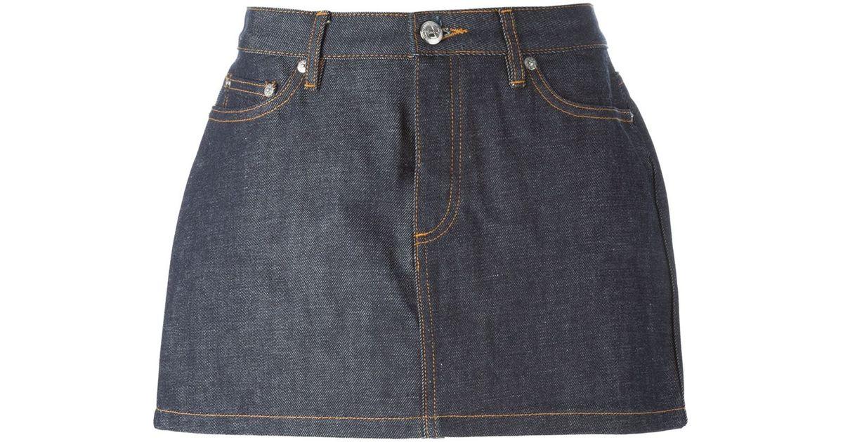 a p c denim mini skirt in blue lyst