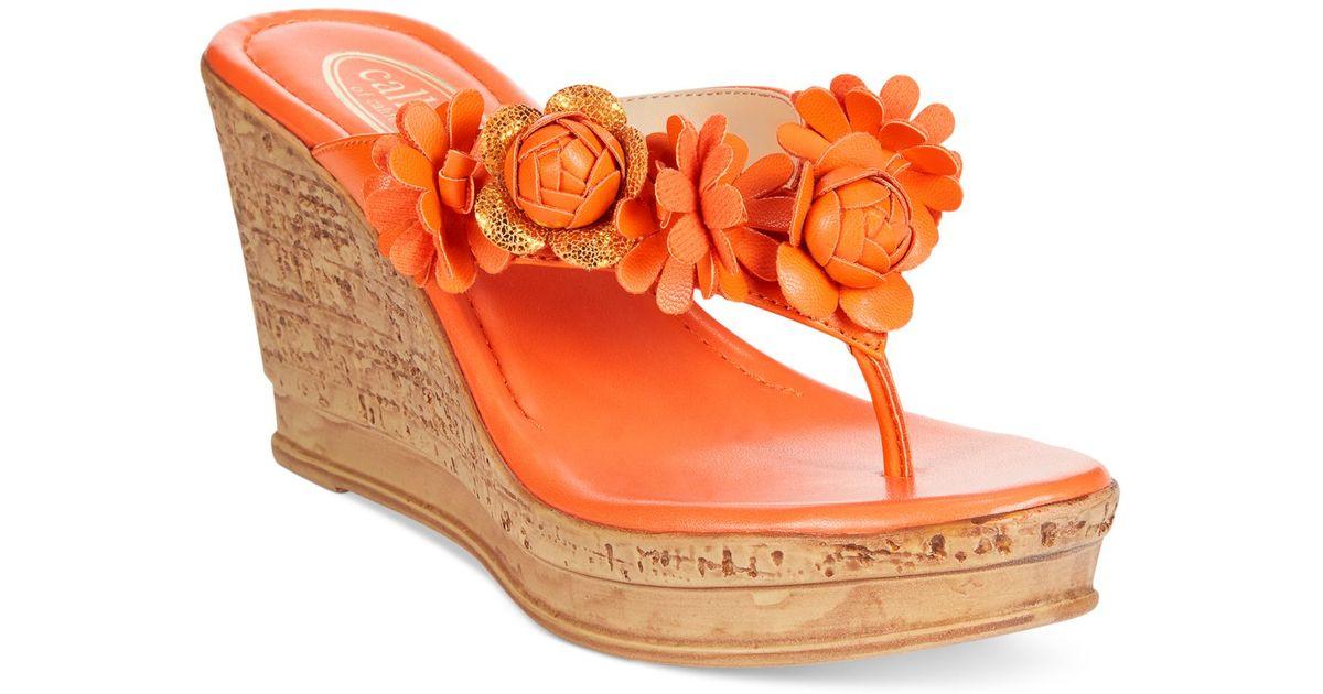 Callisto Flora Flower Platform Wedge Thong Sandals In