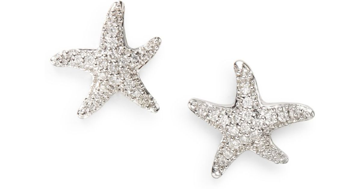 Lyst Saks Fifth Avenue Diamond 14k White Gold Starfish Earrings In