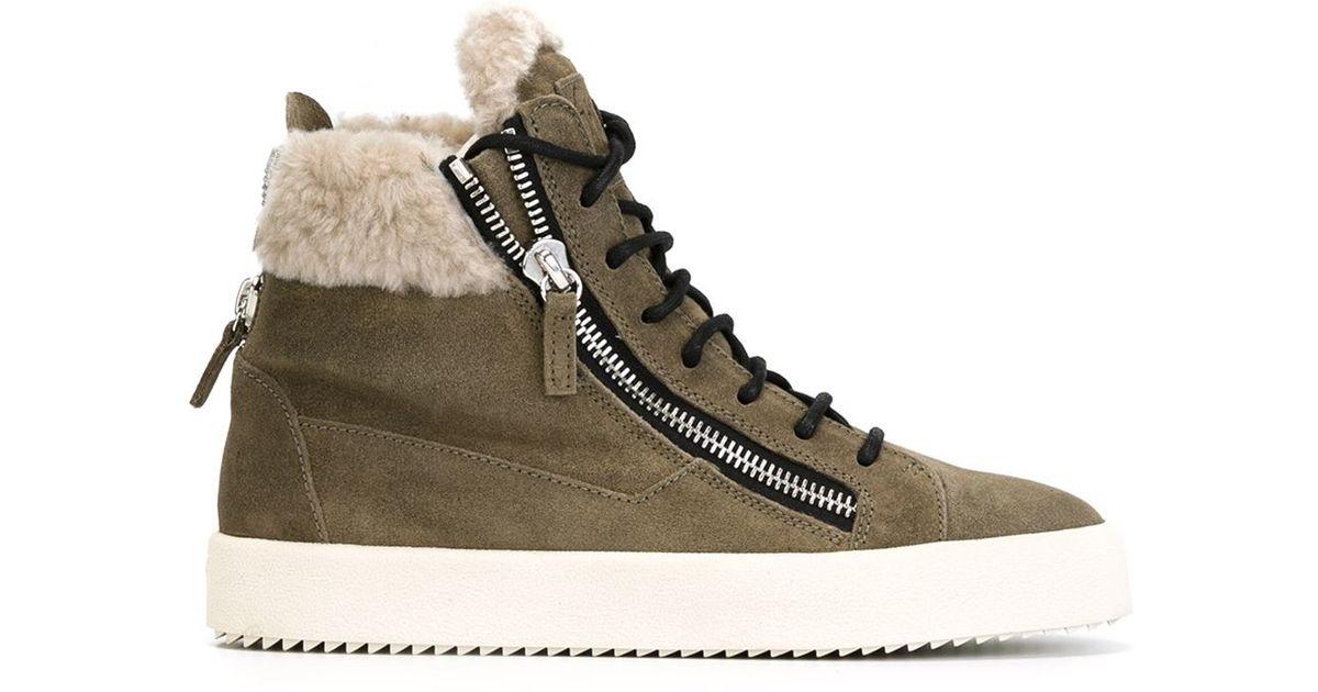 c5cea4c0241 Giuseppe Zanotti Green Faux Fur Trim Hi-Top Sneakers