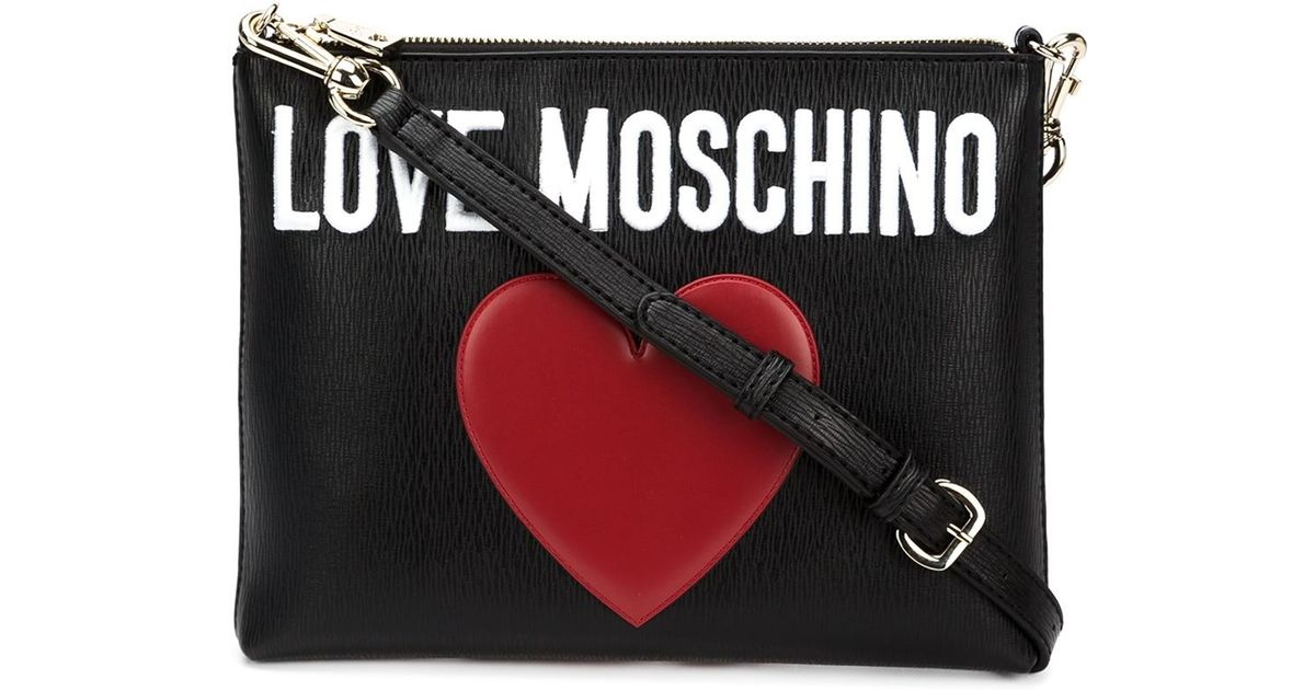 bb68471e0251a Lyst - Love Moschino Stitched Heart Cross-Body Bag in Black