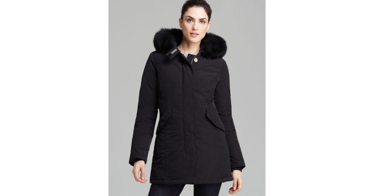 woolrich fur trimmed hooded parka in black lyst. Black Bedroom Furniture Sets. Home Design Ideas