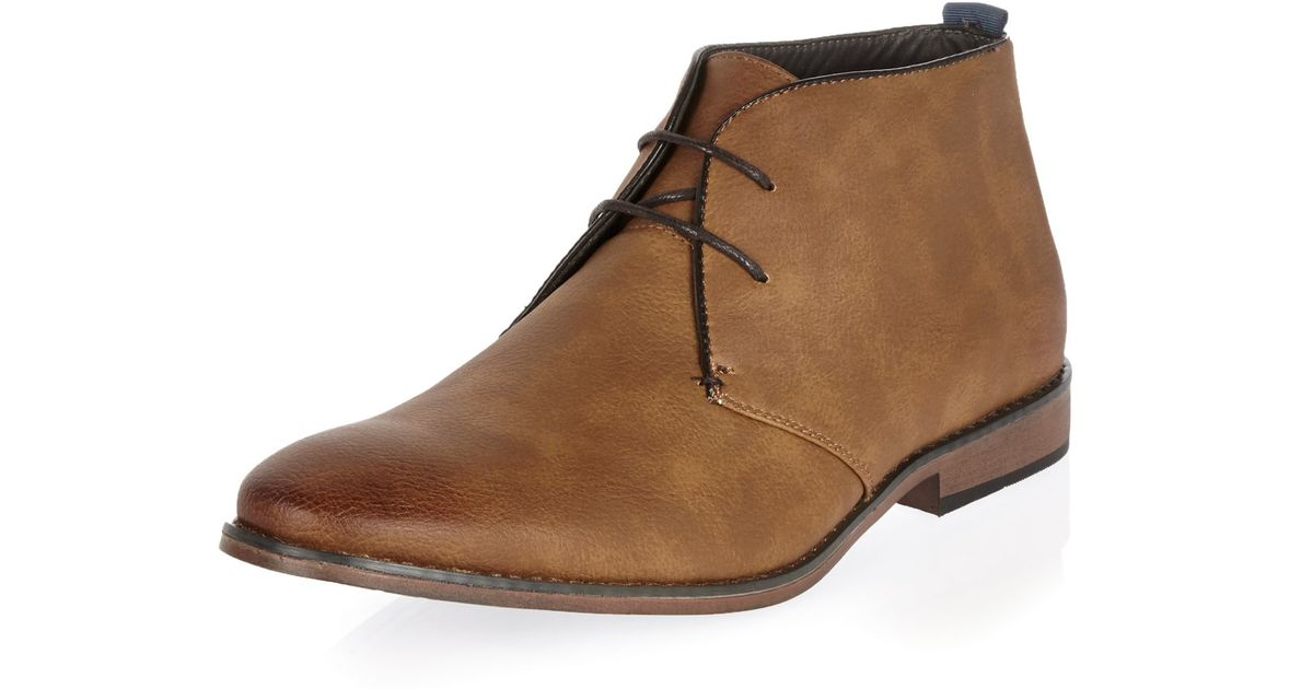 river island brown lace up chukka boots in brown for