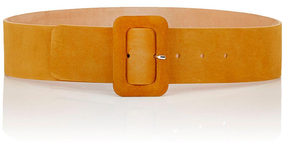 maison boinet s nubuck wide belt in brown yellow