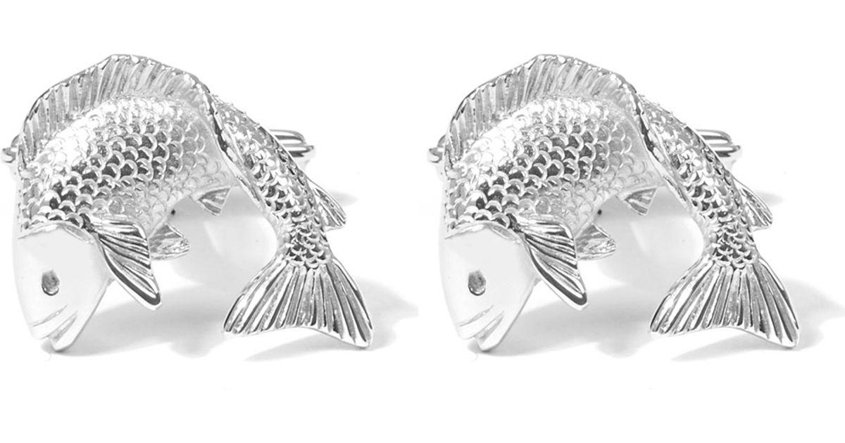 Lanvin Metallic Silver Fish Cufflinks for men