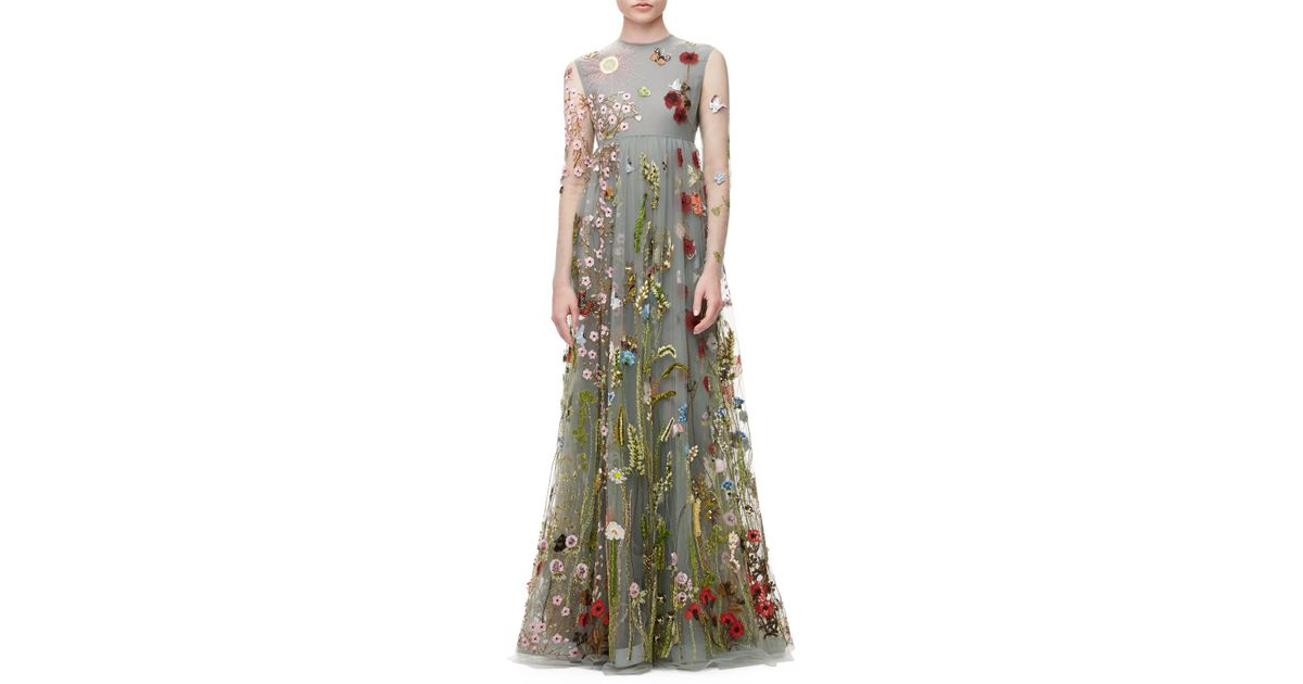 Valentino Gray Fl Embroidered Tulle Empire Waist Gown