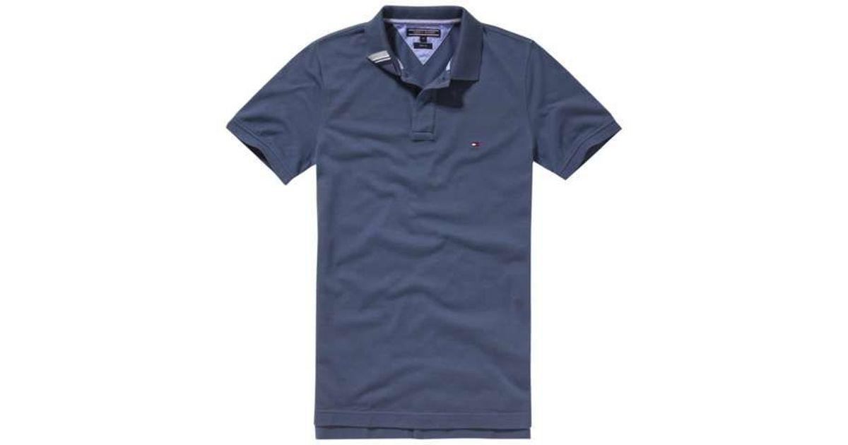 tommy hilfiger slim fit short sleeve polo shirt in blue for men lyst. Black Bedroom Furniture Sets. Home Design Ideas