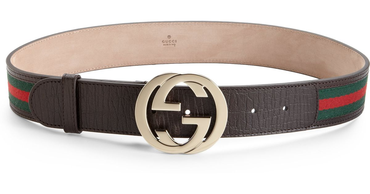 de5a441a4e3 Gucci Logo Cracked Leather Belt in Brown - Lyst