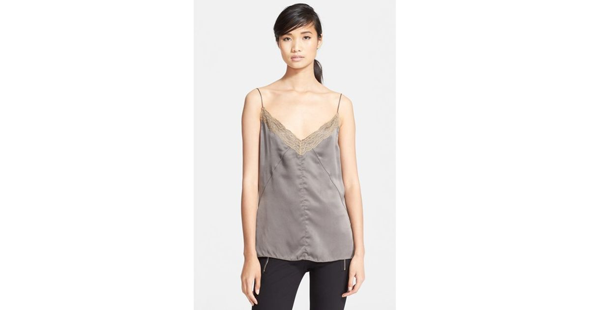 26e0bf0f2f1a6 Lyst - Rag   Bone  izabella  Lace Trim Silk Top in Metallic