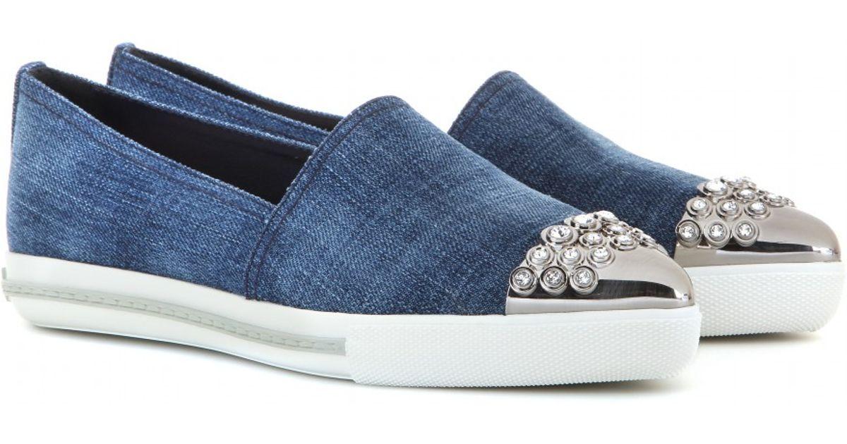 Miu Miu Denim Slip-On Sneakers in Blue
